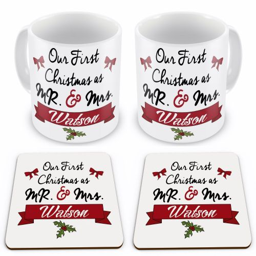 Set Of Personalised Our First Christmas As Mr & Mrs... Gift Mugs w/ Coasters